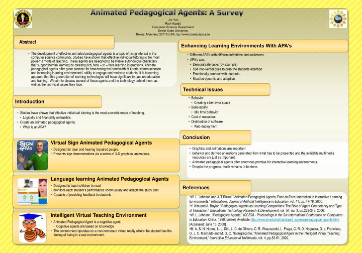 Ppt Animated Pedagogical Agents A Survey Powerpoint
