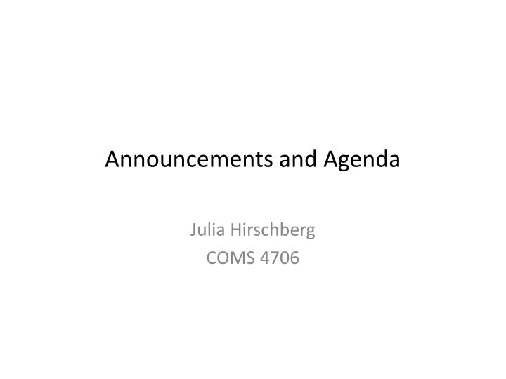 announcements and agenda n.