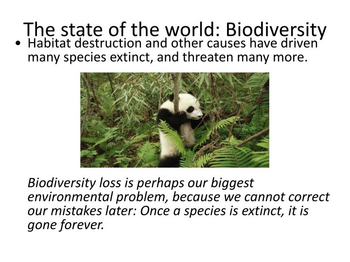 The state of the world: Biodiversity