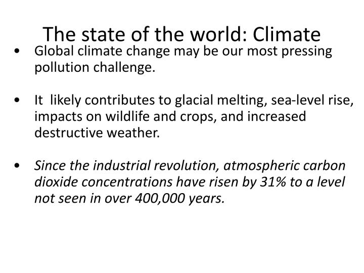 The state of the world: Climate
