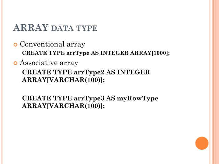 ARRAY data type