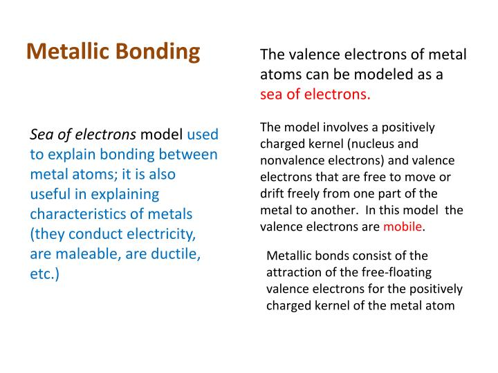 Metallic Bonding The Valence Electrons Of Metal Atoms Can Be Modeled As A Sea