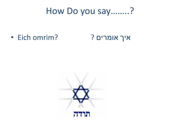 How Do you say……..?