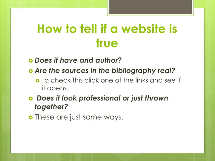 How to tell if a website is true
