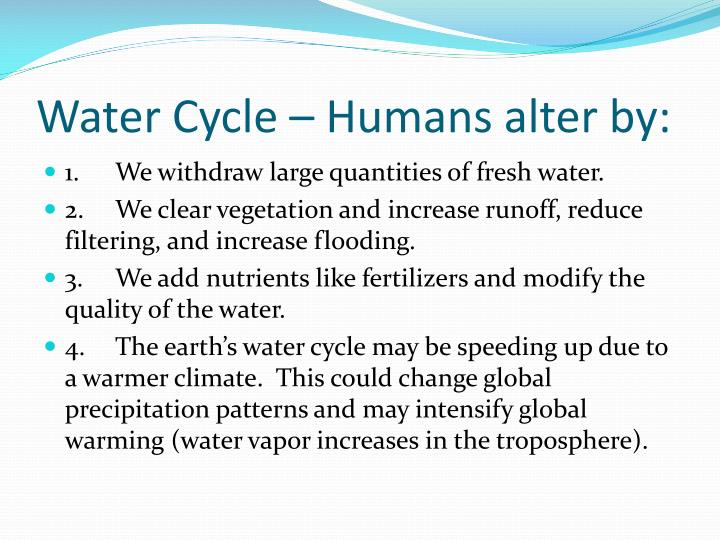 water cycle humans alter by n.