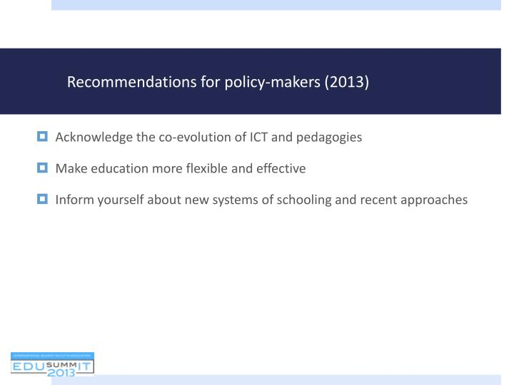 Recommendations for policy-makers (2013)