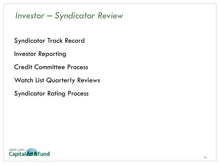 Syndicator Track Record