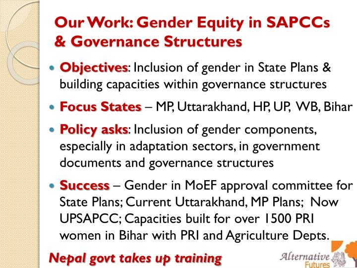 Our Work: Gender Equity in SAPCCs & Governance Structures