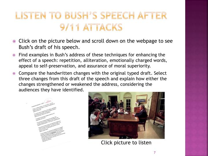 Listen to Bush's Speech after
