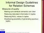 informal design guidelines for relation schemas