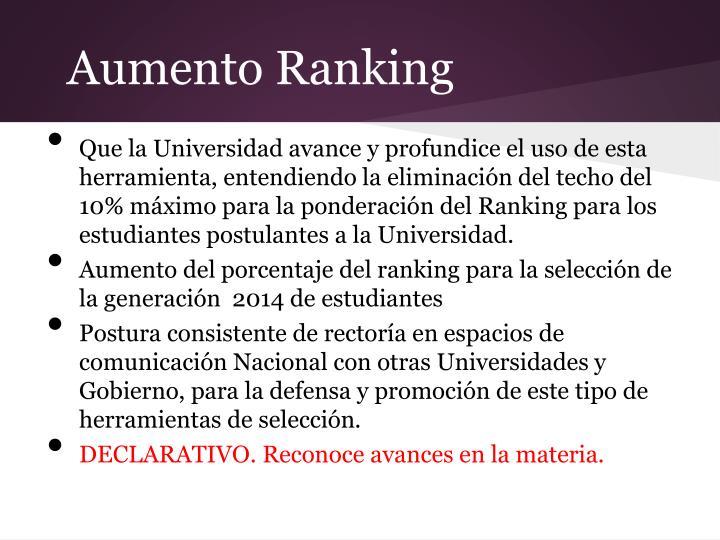 Aumento Ranking