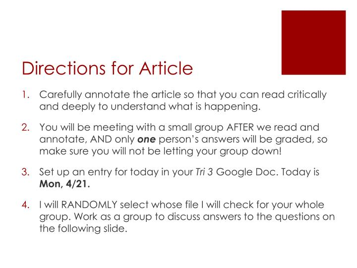 Directions for article