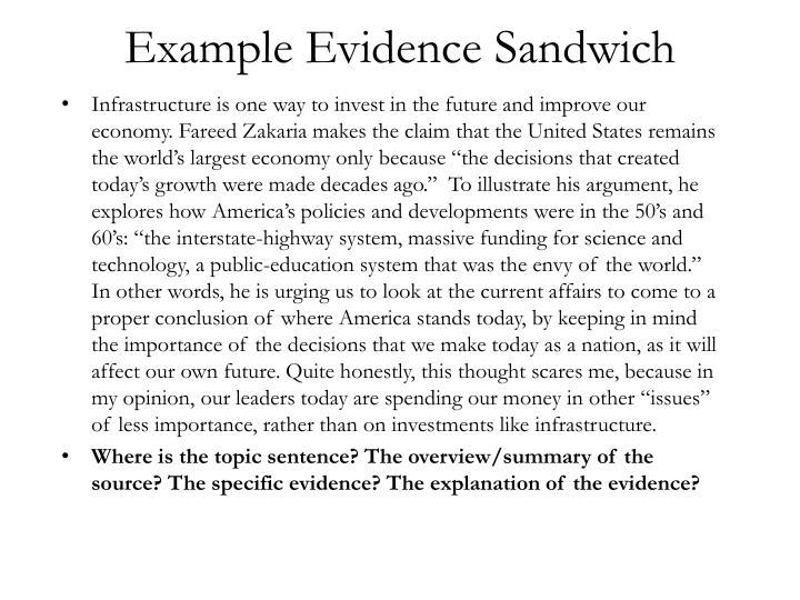 Example evidence sandwich