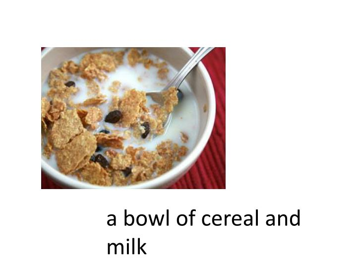 A bowl of cereal and milk