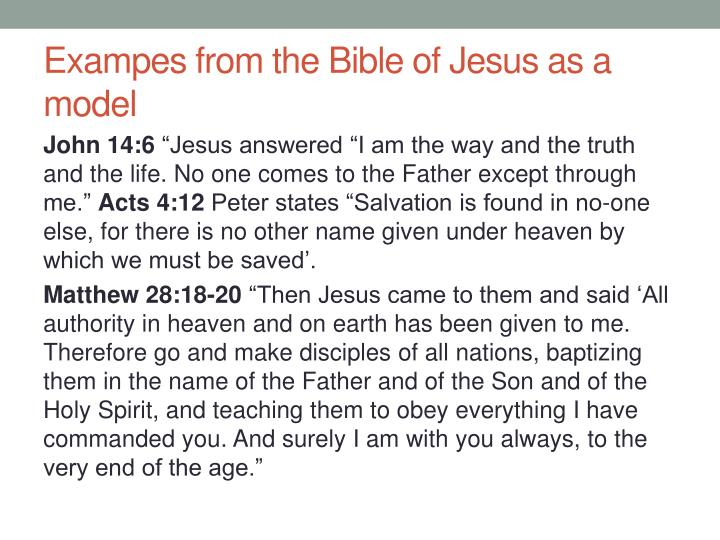 Exampes from the bible of jesus as a model