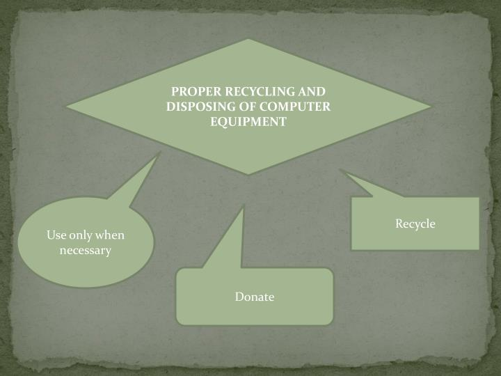 PROPER RECYCLING AND DISPOSING OF COMPUTER EQUIPMENT