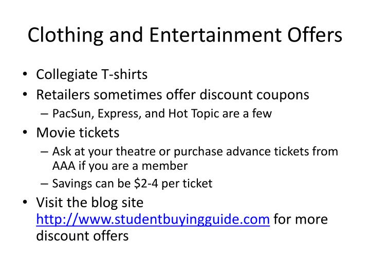 Clothing and Entertainment Offers