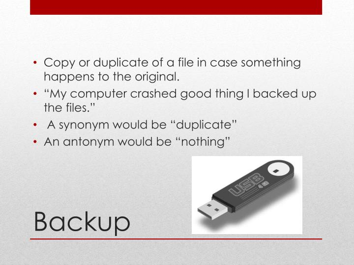 Copy or duplicate of a file in case something happens to the original.