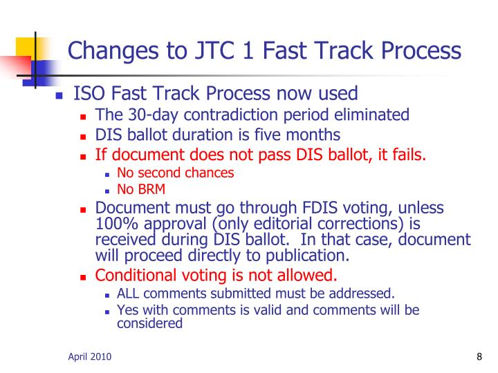 Changes to JTC 1 Fast Track Process