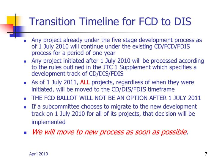 Transition Timeline for FCD to DIS