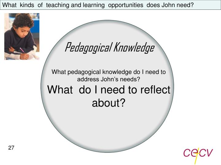 What  kinds  of  teaching and learning  opportunities  does John need?