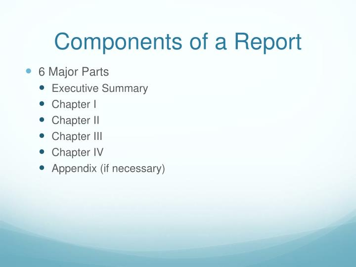 Components of a report