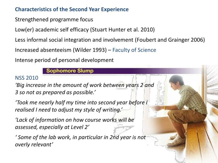 Characteristics of the Second Year Experience