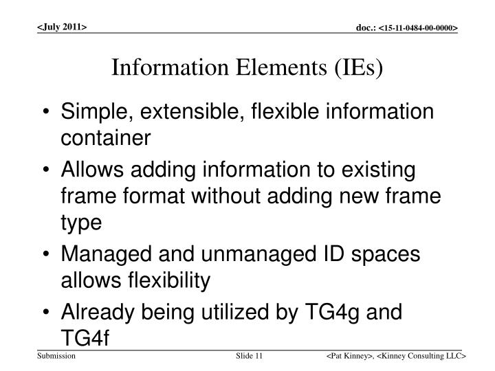 Information Elements (IEs)