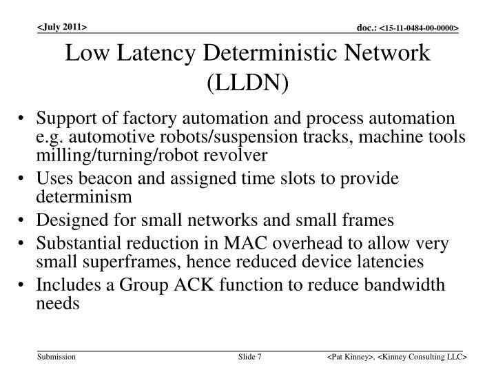 Low Latency Deterministic Network
