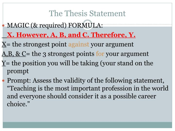 thesis statement career choice