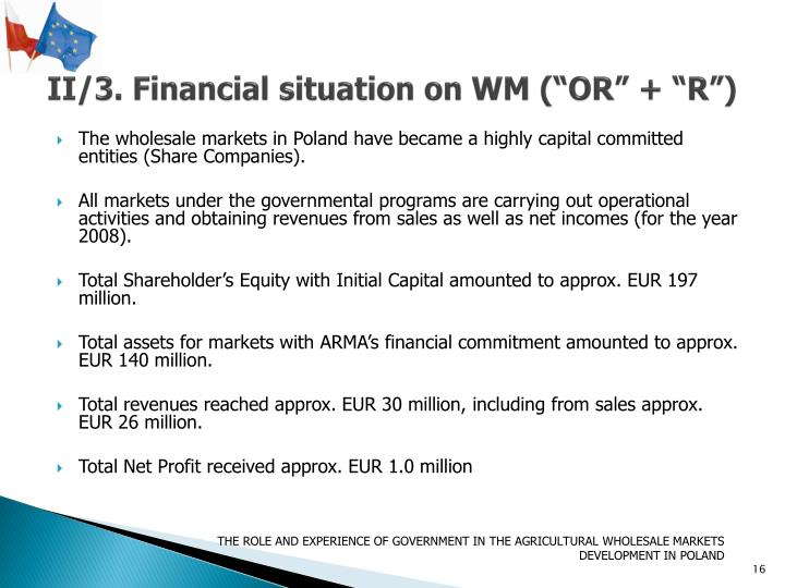 "II/3. Financial situation on WM (""OR"" + ""R"")"