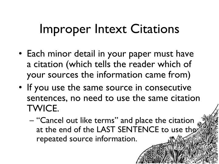 Improper Intext Citations