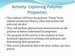 activity exploring polymer properties