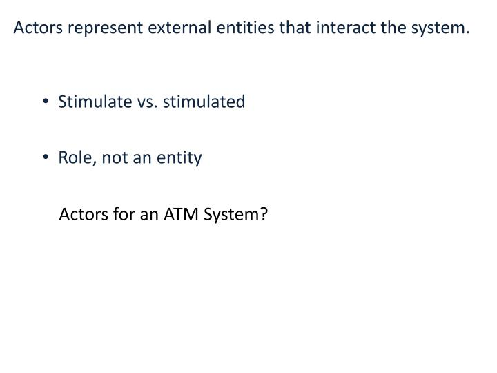 Actors represent external entities that interact the system