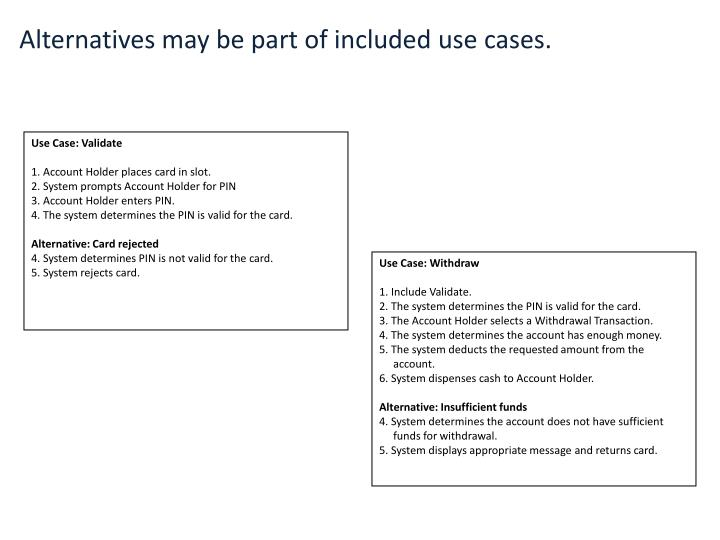 Alternatives may be part of included use cases.
