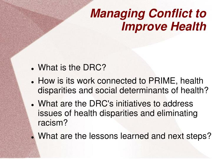 Managing conflict to improve health