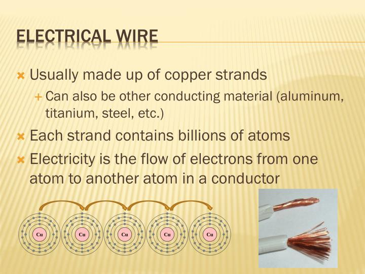 Usually made up of copper strands