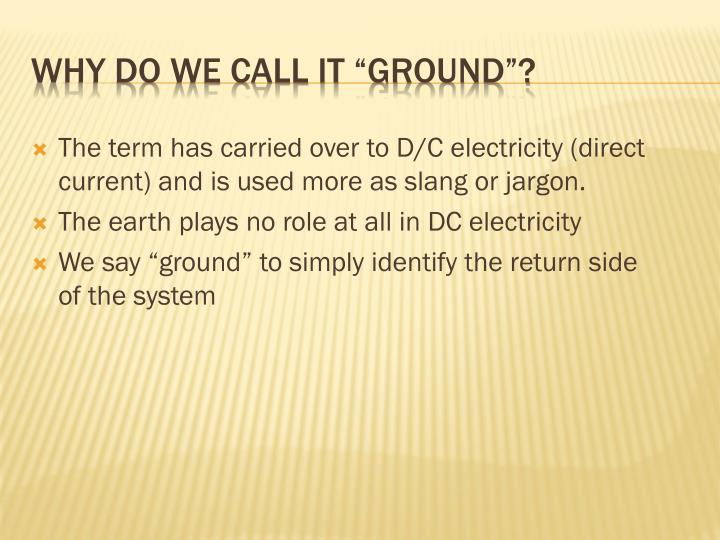 "WHY DO WE CALL IT ""GROUND""?"