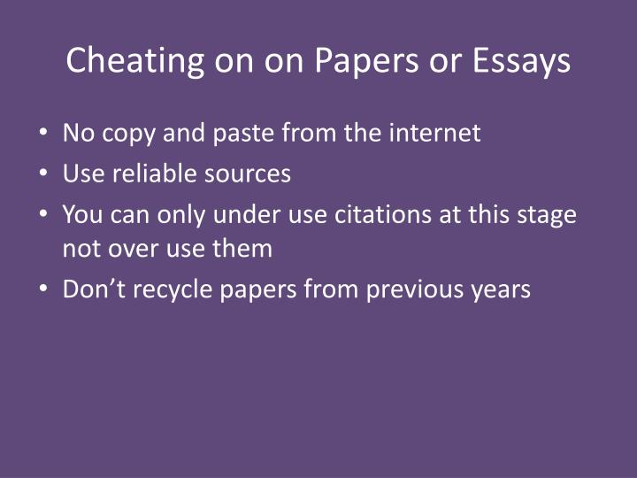 Cheating on on Papers or Essays