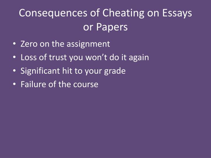 Consequences of Cheating on Essays  or Papers