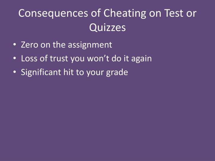 Consequences of Cheating on Test or Quizzes