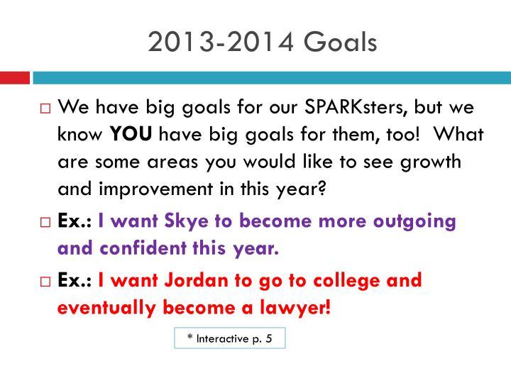 2013-2014 Goals