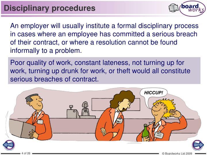 Disciplinary procedures