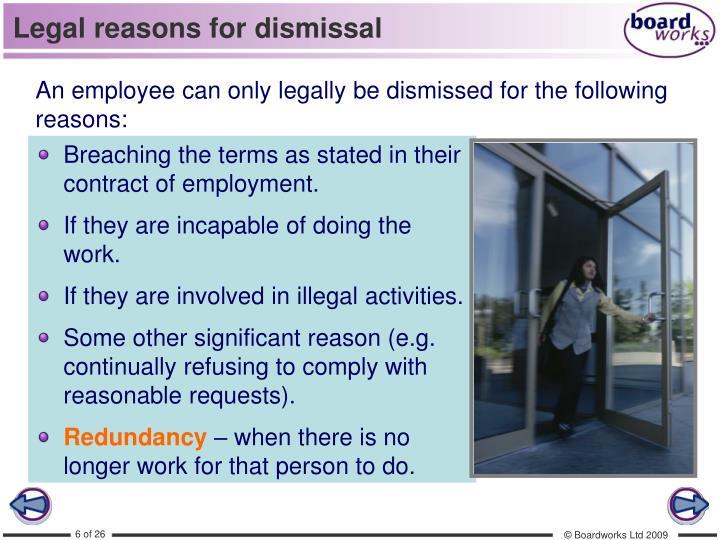 Legal reasons for dismissal