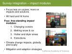 survey integration impact modules