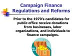 campaign finance regulations and reforms