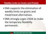 weekly limits on grains and protein