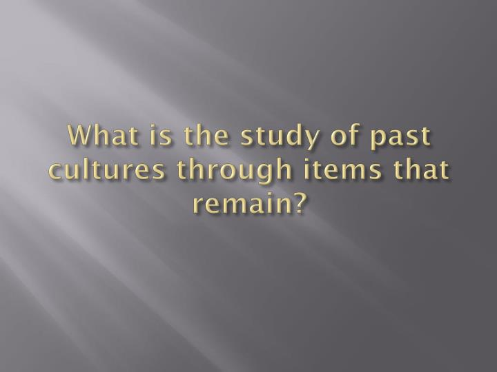 What is the study of past cultures through items that remain?