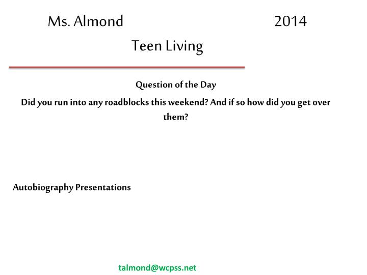 ms almond 2014 teen living n.