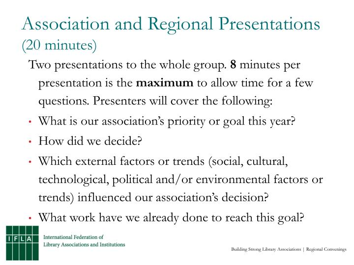 Association and regional presentations 20 minutes